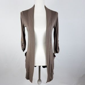 Splendid Rolled Sleeve Open Front Cardigan Brown S
